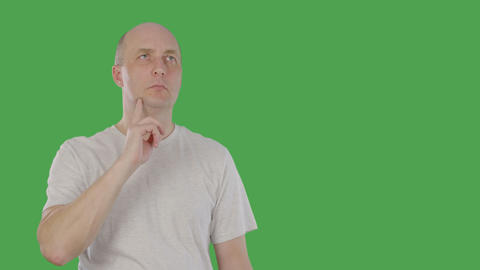 Smart man thinking and raising index finger up when he found solution problem Footage
