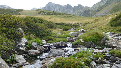Landscape of a mountain creek, on the Pyrenees of Andorra Footage
