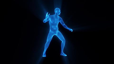3D Blue Wireframe Man with Light Rays Loop Graphic Element 애니메이션