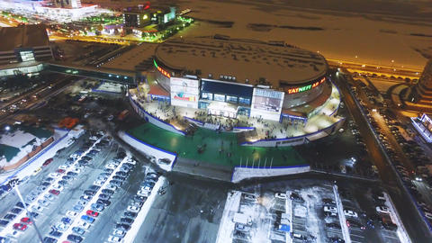 modern city arena with projectors and spectators Stock Video Footage