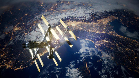 4k Flight Of The International Space Station Above the Earth 영상물