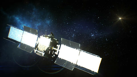 Beautiful View of Satellite in Open Space Using its Solar Panels. 3d Animation. Animation