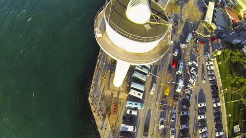 Flying over Radar Tower. Vessel traffic radar navigation tower on Bosporus Shore Footage