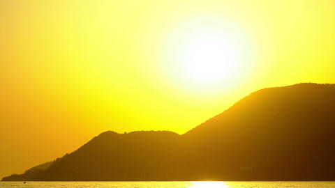 Zoom out. Golden sunset over Cleopatra Beach in Alanya, Turkey Country. Crystal Footage