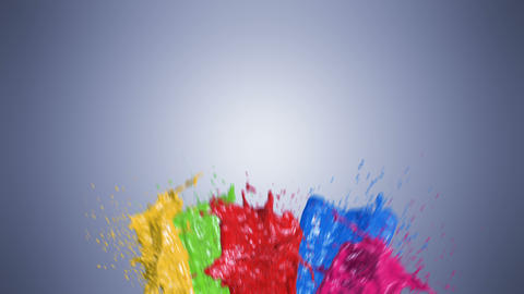 Beautiful Color Paint Splashes in Slow Motion and Freeze Motion with Alpha Mask Animation