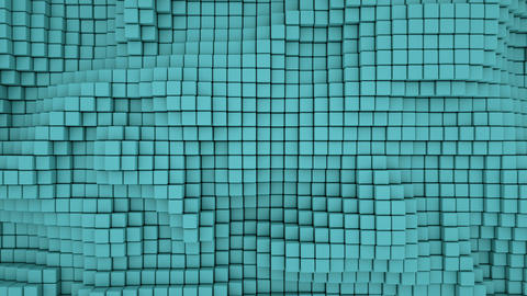Wall of teal 3D boxes abstract seamless loop background Animation
