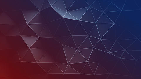 Red and blue triangular polygons seamless loop 3D animation Animation