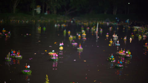 Krathongs at religious holiday Loy Krathong in Thailand Footage