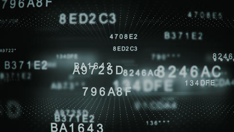 Decoding encrypted digital hexadecimal data code loopable Animation