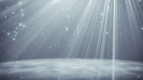 Silver particles and stars flying in light rays loopable background Animation