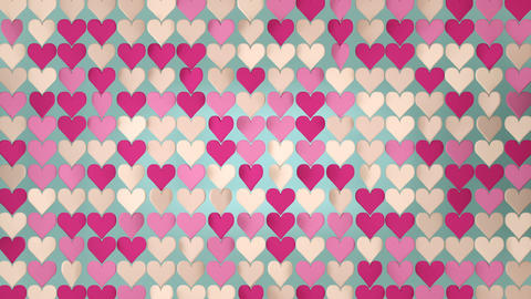 Pink hearts array seamless loop 3D render animation Animation