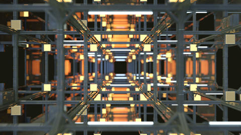 Moving through tunnel with metal construction seamless loop Animation