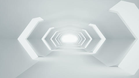 Futuristic white sci-fi tunnel interior seamless loop Animation