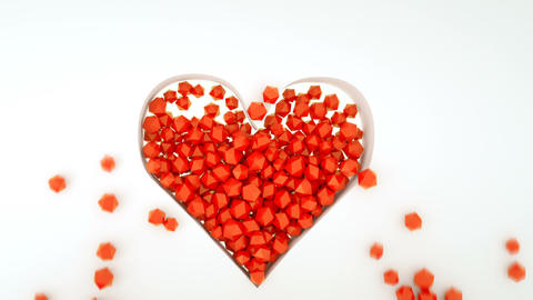Heart shape from red polyhedrons 3D render animation Animation