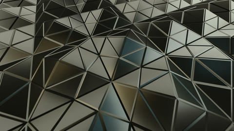 Pyramidal grey surface futuristic polygonal shape 3D render seamless loop Animation