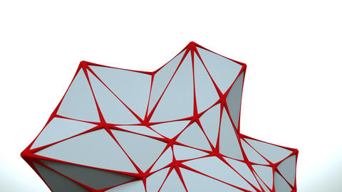Low poly white surface with red edges loopable 3D animation Animation