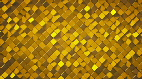Gold rhombus pattern surface 3D render loopable animation, Stock Animation