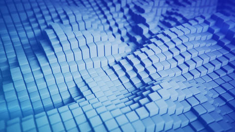 Abstract 3D rendering of blue blocks seamless loop animation Animation