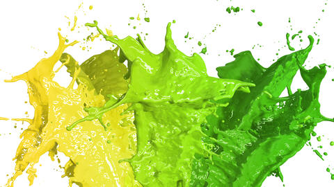 Beautiful Color Paint Splashes in Slow Motion and Freeze Motion, Green Screen, Animation