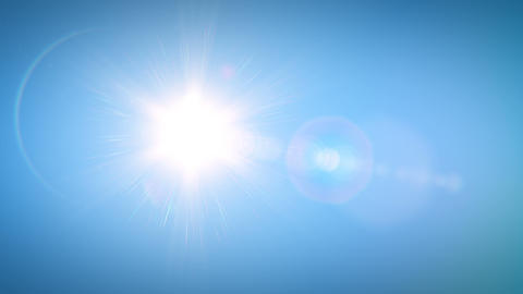 Beautiful Bright Sun Shining Moving Across the Clear Blue Sky in Time-Lapse. 3d Animation