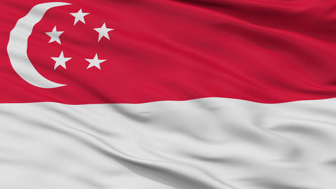 Close Up Waving National Flag of Singapore Animation