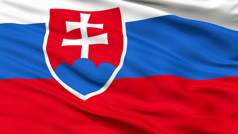 Close Up Waving National Flag of Slovakia Animation