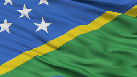 Close Up Waving National Flag of Solomon Islands Animation
