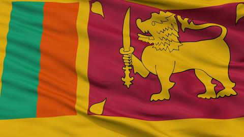 Close Up Waving National Flag of Sri Lanka Animation