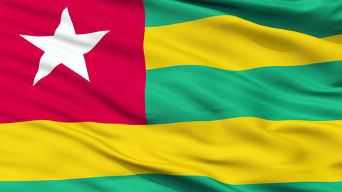 Close Up Waving National Flag of Togo Animation