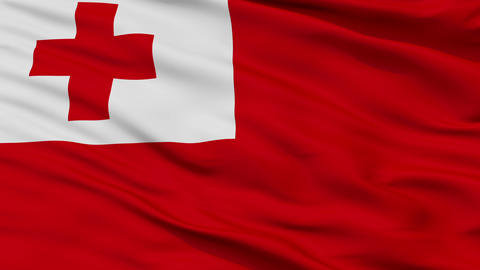 Close Up Waving National Flag of Tonga Animation