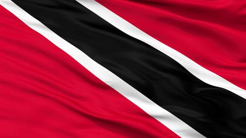 Close Up Waving National Flag of Trinidad and Tobago Animation