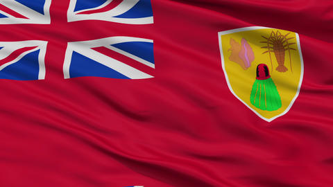 Close Up Waving National Flag of Turks and Caicos Islands Animation
