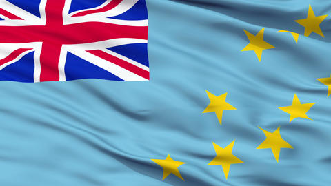 Close Up Waving National Flag of Tuvalu Animation