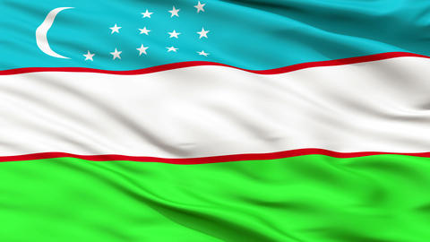 Close Up Waving National Flag of Uzbekistan Animation