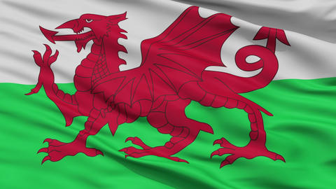 Close Up Waving National Flag of Wales Animation