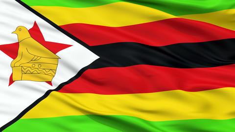 Close Up Waving National Flag of Zimbabwe Animation