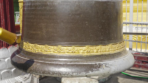 beats in Buddhist ritual bell, Myanmar (Burma) Footage