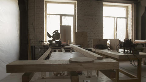 Woodworking table, cutting apparatus, wooden boards. Manufacturing furniture Live Action