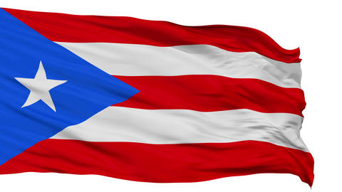 Isolated Waving National Flag of Puerto Rico Animation
