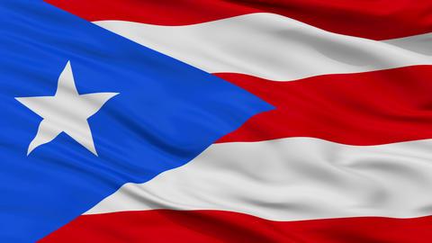 Close Up Waving National Flag of Puerto Rico Animation