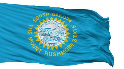Isolated Waving National Flag of South Dakota Animation