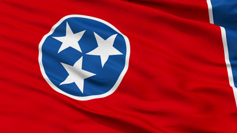Close Up Waving National Flag of Tennessee Animation