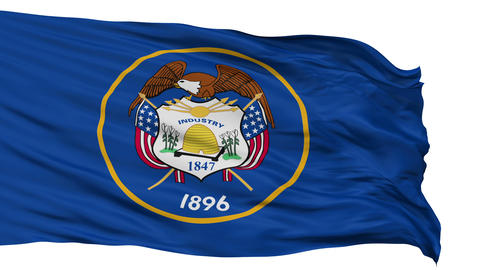 Isolated Waving National Flag of Utah Animation
