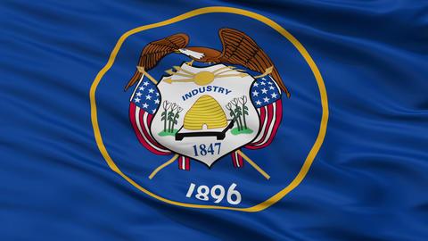 Close Up Waving National Flag of Utah Animation