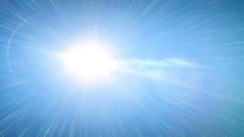 Beautiful Bright Sun Shining Moving Across the Clear Blue Sky with Spectral Rays Animation