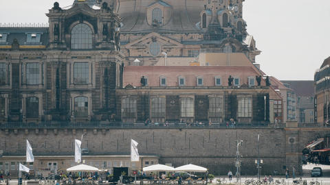 DRESDEN, GERMANY - MAY 2, 2018. Frauenkirshe or Church of Our Lady telephoto GIF