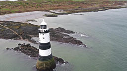 Penmon, Anglesey / Wales - April 23 2018: The Penmon point lighthouse is located 영상물