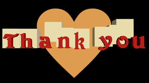 Outro animation Thank you with moving cubes and heart, red inscription, 3d Animation