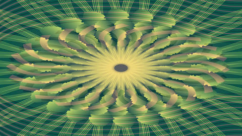 Beige and green tunnel footage, abstract symmetric floral shape Animation