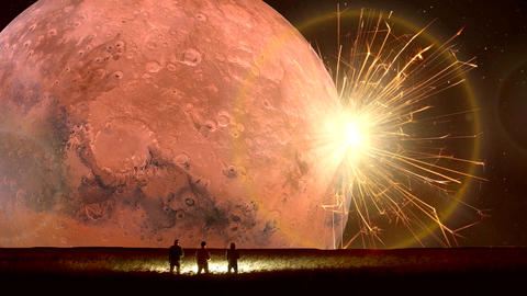 Amazing Fantastic Unreal Landscape Animation (with Red Moon), Full HD Animation